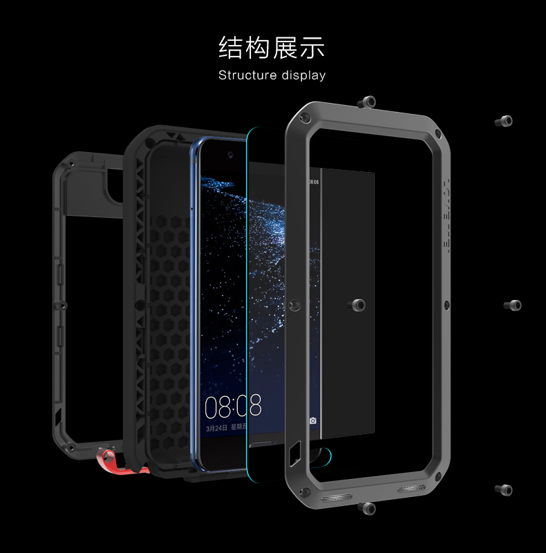 low cost dc5b8 8e779 Metal Waterproof Case For Huawei P10 Shockproof Cover For Huawei P10 Plus  Aluminum Protection Gorilla Glass