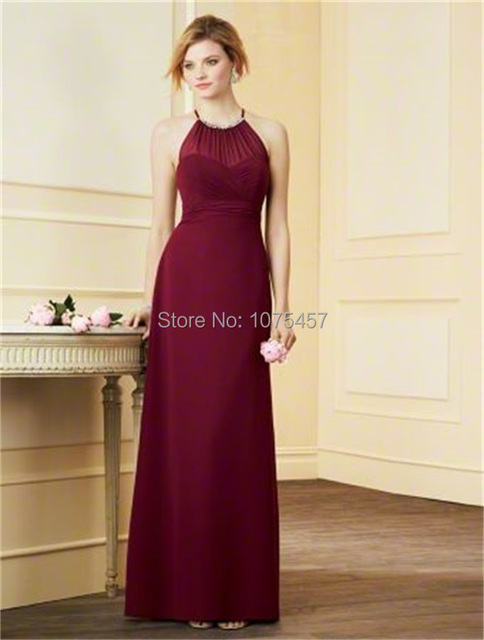 Elegant Long Burgundy Bridesmaid Dress 2017 Halter Neck Y Keyhole Back For Party Chiffon Vestido