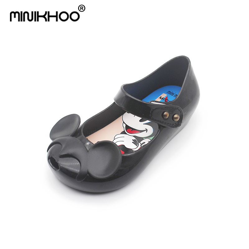 Mini Melissa 2018 Mickey EarJelly Shoes Princess Soft Bottom Children Cartoon Fishtail Jelly Sandals Non-slip Melissa Shoes