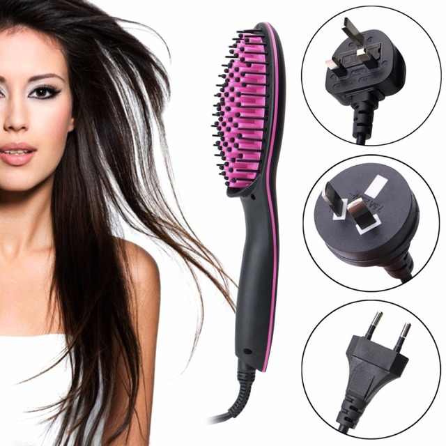 Hair Straightener Comb Ceramic Temperature LCD Simply Electric Brush UK/EU/AU/US Plug New