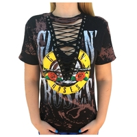 Women T Shirt GUN N ROSES Print Sexy Hollow Out Short Sleeve Lace Up V Neck