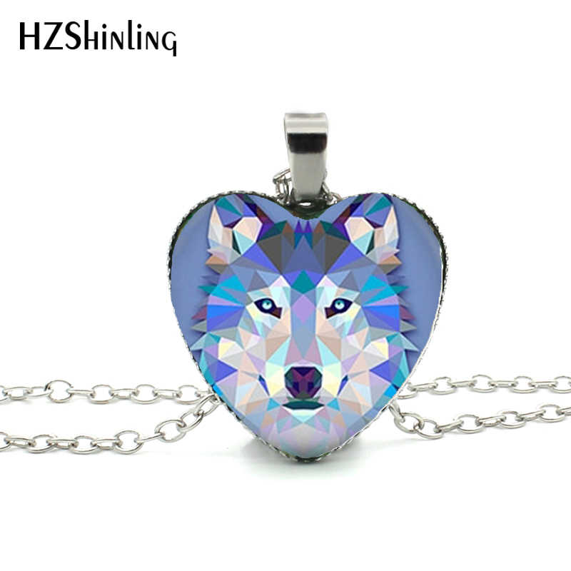 New Blue Wolf Heart Necklace Howling Wolf Heart  Pendant Jewelry Wolf Pendant Murano Glass Heart Necklace HZ3