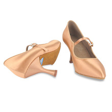 Women Ballroom BD Dance 137 MOON Tan Satin High Heel Ladies Standard Dancing Shoes Anti-Slip Outsole Dancesport