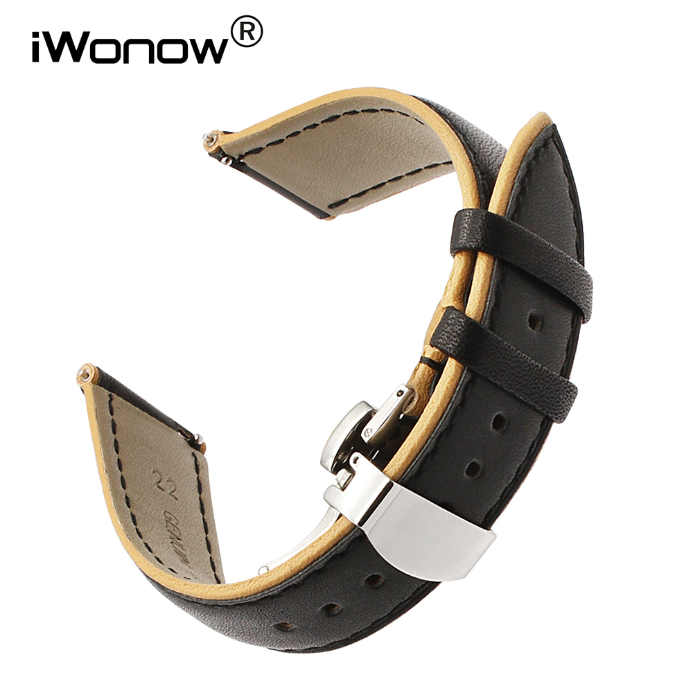 France Genuine Leather Watchband Double Color for Samsung Gear S3 Galaxy Watch 46mm Gear 2 Neo Live Band Quick Release Strap