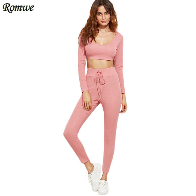 ROMWE Two Piece Set Top and Pants Women Clothing Set Pink Long Sleeve Crop Hooded Top With Drawstring Waist Pants