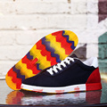 AD AcolorDay 2017 Ventas Calientes Patchwork Marca Hombres Zapatos Causales Encaje Hasta zapatillas de Lona Transpirable Zapatos de Los Hombres de La Escuela de Primavera Mans Calzado