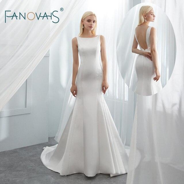 54d89df7d65f24 Simple Satin Wedding Dresses 2019 Boat Neck Ivory/White Elegant Mermaid Wedding  Gown Open Back Vestido de Novia WN18