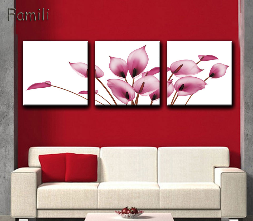 3 pieces set modern wall art painting strong red flowers canvas painting for living room home bar ktv decor unframe