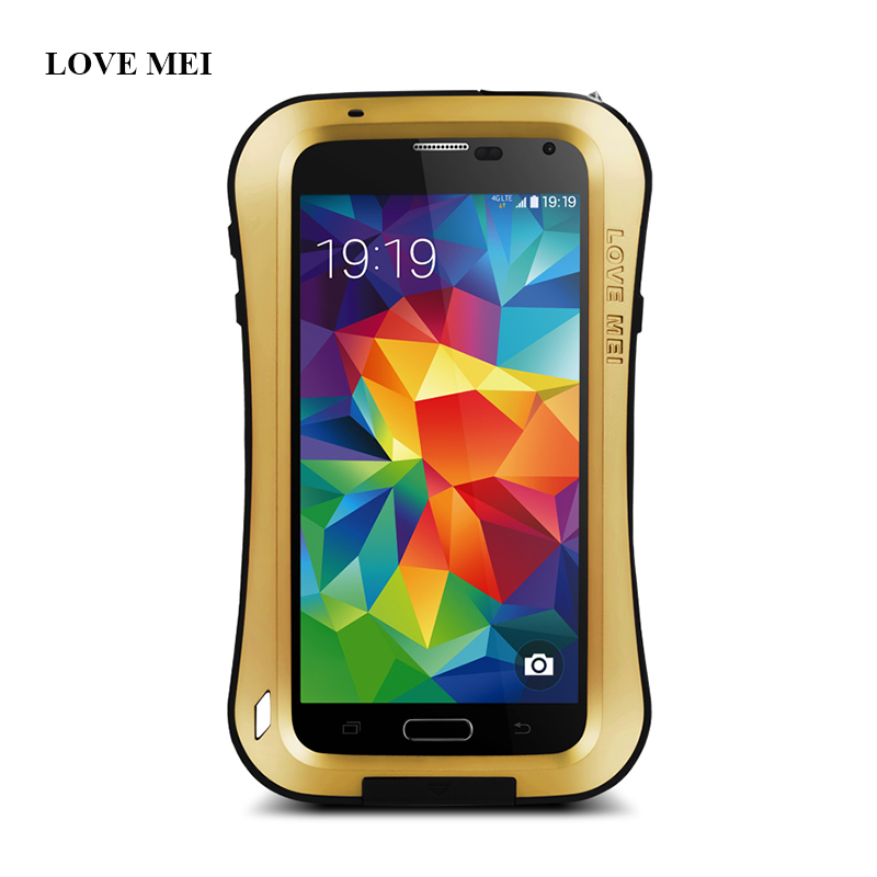 LOVE MEI Original Brand Small Waist Metal Aluminum Case Cover For Samsung Galaxy S5 I9600 G900F Shockproof Life Waterproof Shell