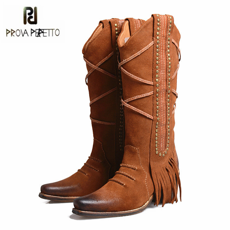 Prova Perfetto Brown Suede Women Mid-calf Boot Retro High Heel Martin Boots Fringed Platform Shoes Woman Tassels High Boots double buckle cross straps mid calf boots