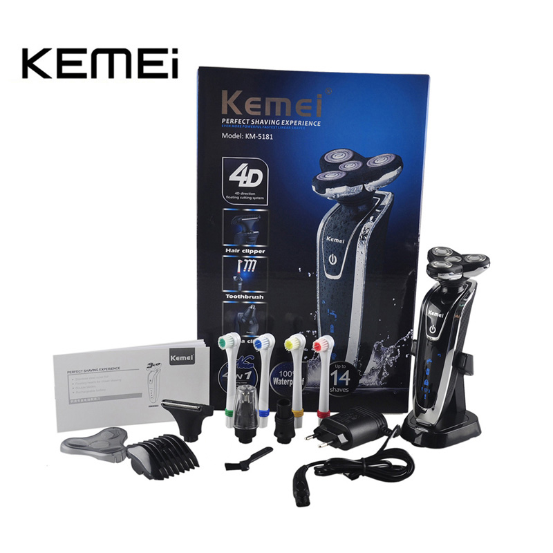 Electric Shaver Triple Blade Electric Shaving Razors Men Face Care 4D Floating KM-5181 Washable Rechargeable 4 In 1 KEMEI electric shaver triple blade electric shaving razors men face care 4d floating km 5181 washable rechargeable 4 in 1 kemei