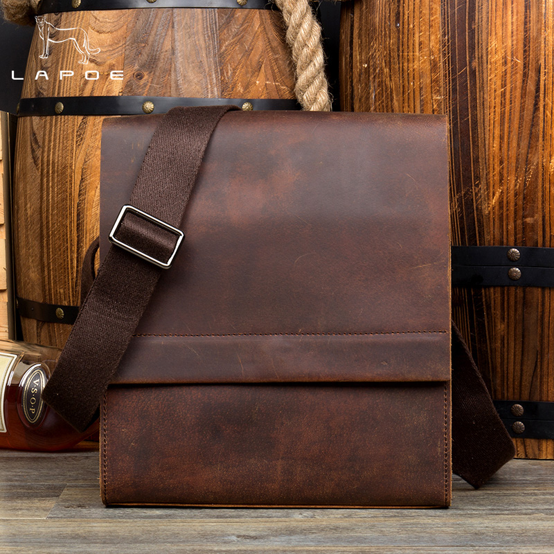 LAPOE Genuine leather men bag men messenger bags small shoulder bags crossbody bag small men's leather handbag Hot sale jason tutu promotions men shoulder bags leisure travel black small bag crossbody messenger bag men leather high quality b206