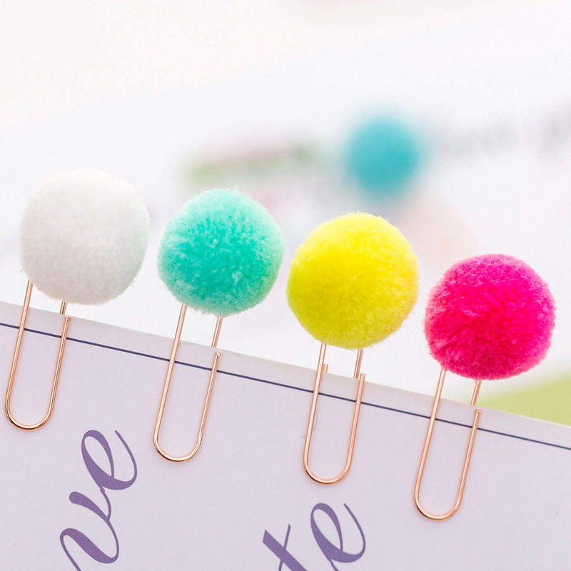 6pcs/set Cute Hairball Rose Gold Cilp Modelling Paper Clip Fashion Business Office Lady Style Office Stationery Set
