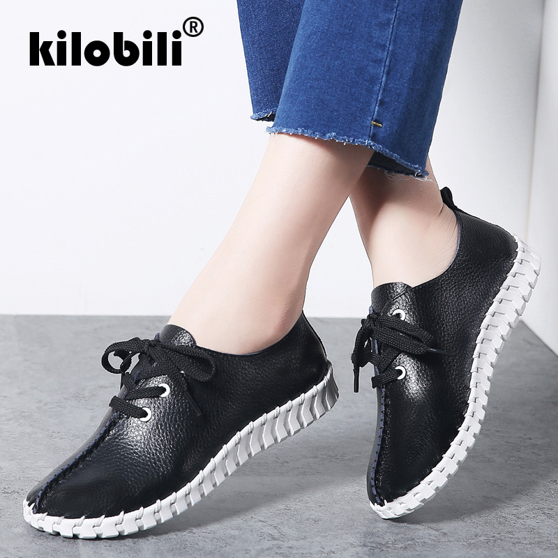 kilobili 2019 Spring Girls Sneakers Sneakers Flats Sneakers Girls Real Leather-based Lace Up Causal Rubber Boat Sneakers Spherical Toe Moccasins Girls's Flats, Low-cost Girls's Flats, kilobili 2019 Spring Girls...
