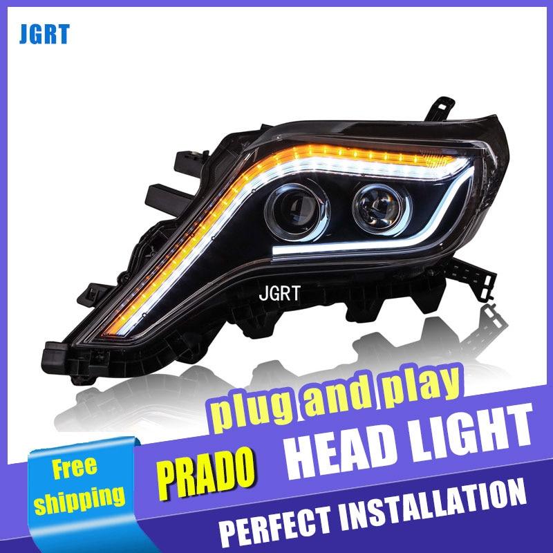 Car Styling For toyota Prado headlight assembly For Prado LED head lamp Angel eye led DRL front light H7 with hid kit 2 pcs.