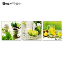 EverShine Lemon Cup Diamond Painting Cross Stitch Kitchen Decor DIY Full Square Diamond Embroidery Mosaic Sale Picture Triptych(China)