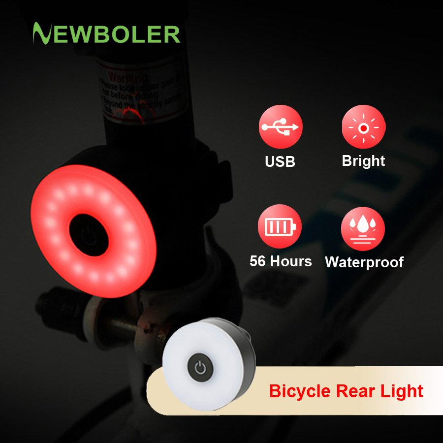NEWBOLER LED Bicycle Rear Light USB Rechargeable Bike Flashlight IPX6 Waterproof MTB Helmet Back Tail Light For Cycle Accessory