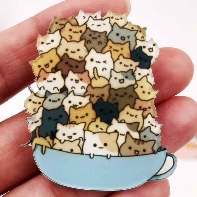 Top Jual 1 Pcs Kartun Harajuku Ditumpuk Kucing Akrilik Bros Lencana Ransel Topi Sepatu Pakaian Bros Pin untuk Wanita Gadis