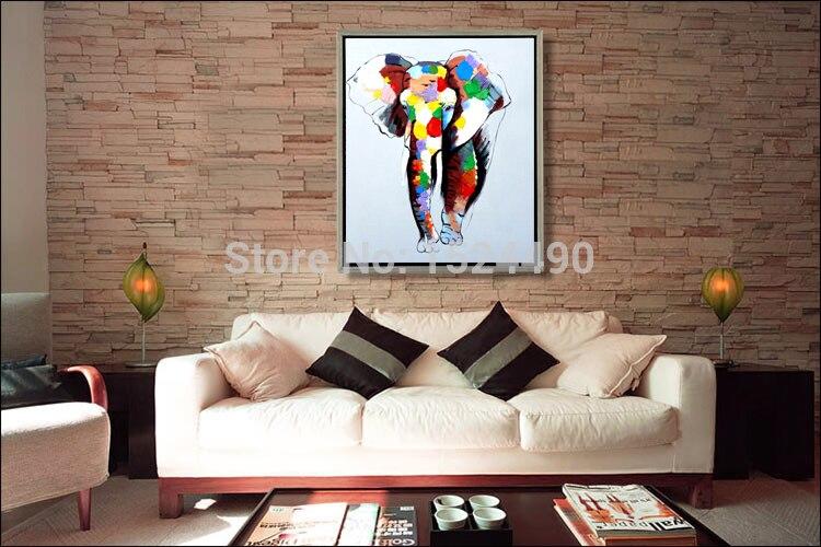 Moderne abstracte canvas muur deco olifant olieverf kleurrijke