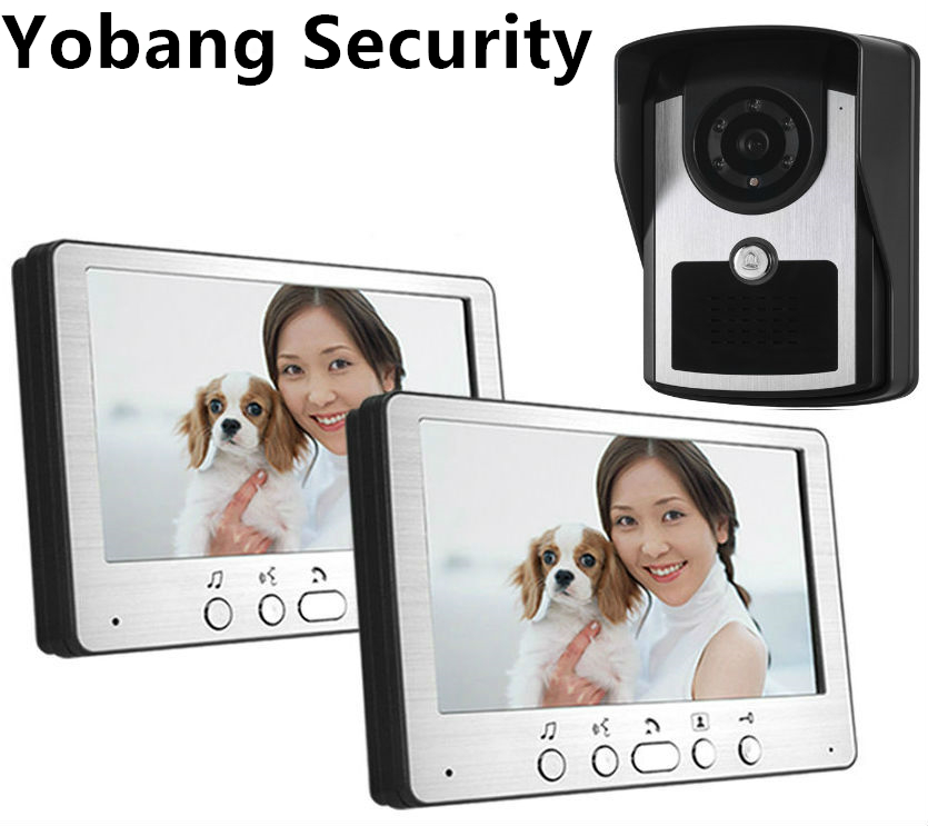 Yobang Security Apartment Video Intercom System 7 Inch Monitor Video Door Phone Intercom System Wired Home Video Doorbell kit yobang security free ship 7 video doorbell camera video intercom system rainproof video door camera home security tft monitor