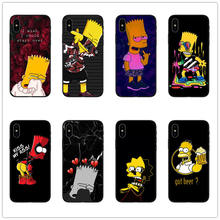 Bart Simpson Hitam TPU Lembut Silicone Ponsel Case Penutup untuk Apple Iphone 6 6 S 7 Plus X XR XS 5 5S SE Lucu Simpsons Shell Coques(China)