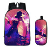 2PC Set With Pencil Case Student Backpacks Female DIY Michael Jackson Printing Children SchoolBags Mochila Feminina
