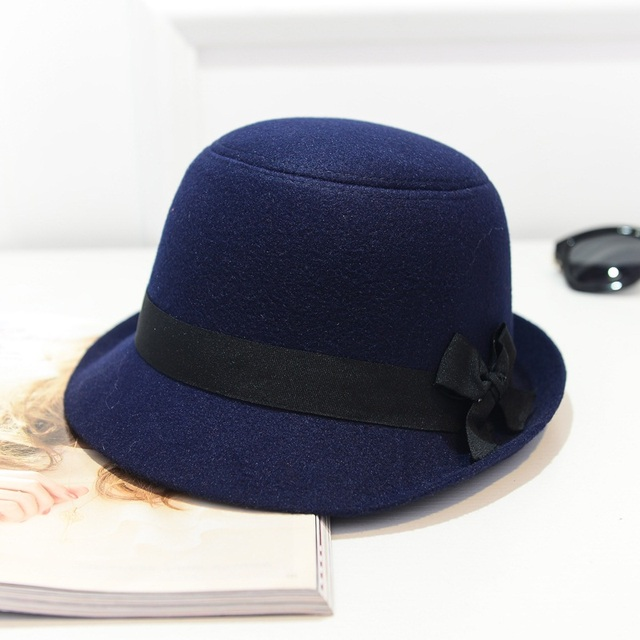 523764565312a ... Wuaumx Brands Autumn Winter Fedora Hats For Female Ladies Felt Top Hat  For Girls Trilby Homburg