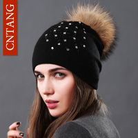 CNTANG Wool Knitted Hats Fashion Rhinestone Glass Women Autumn Winter Warm Caps Natural Raccoon Fur Pompom