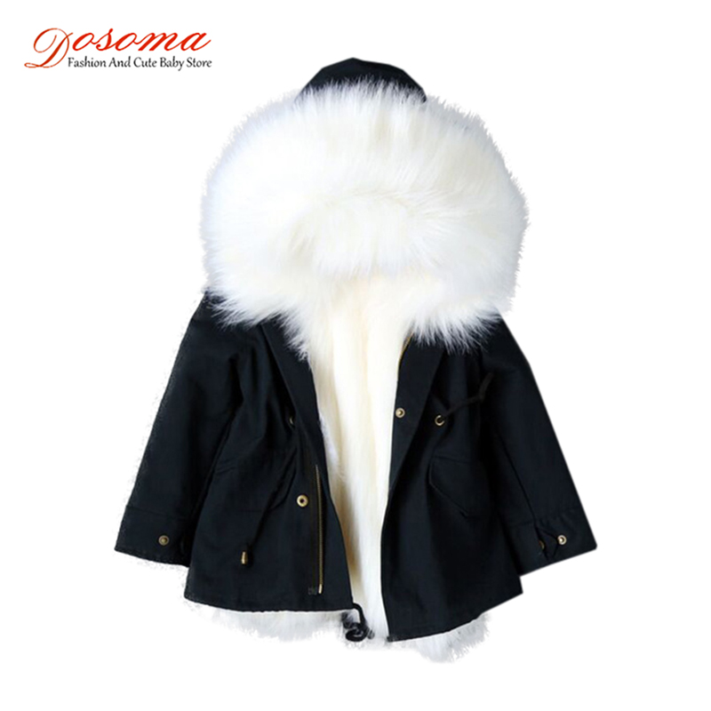 Dosoma Girls Jackets Winter Coat Faux Fox Fur Detachable Liner Jackets Children's Outerwear Baby Thick Warm Coat Parkas For Boy real fox fur liner winter jacket women new long parka real fur coat big raccoon fur collar hooded parkas thick outerwear