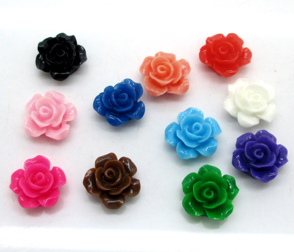 50Pcs Mixed Resin Cabochon Rose Flower Crafts Flatback Beads Embellishments DIY