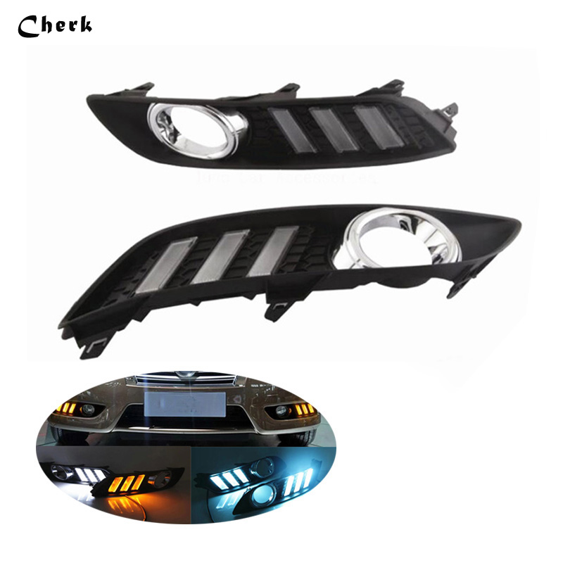 Day Light For Nissan Sylphy Sentra 2012 2013 2014 2015 2016  LED DRL Daytime Running Light Fog Lamp With Yellow Turn Signals