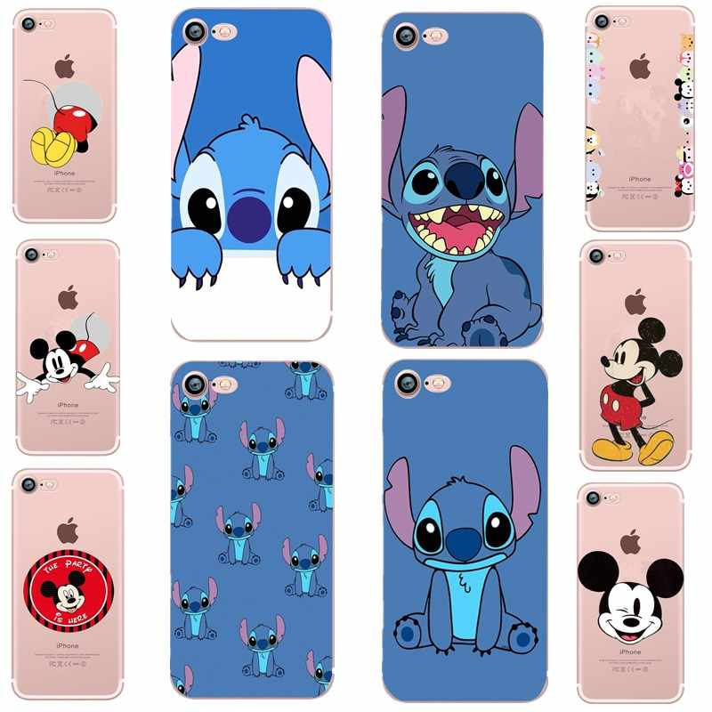 Super ponto mickey minnie silicone caso para iphone 7 tpu macio capa coque para ipone 6 s 7 8 plus x 10 se funda