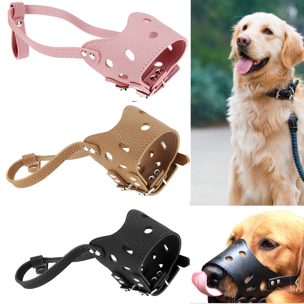 S M L Adjustable Dog Muzzle Anti Bark Bite Chew PU Leather Dog Training Muzzle For Small Medium Large Dogs Pet Products