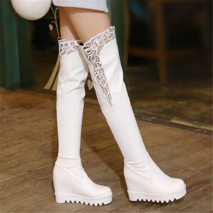 NAYIDUYUN  Thigh High Boots Women Black White Wedges Over The Knee Riding Booties Heel Tall Shaft Punk Snow