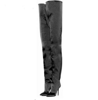 2019 Luxury Satin Over The Knee Boots Women Pointed Toe 12cm High Heel Boots Women Runway Party Shoes