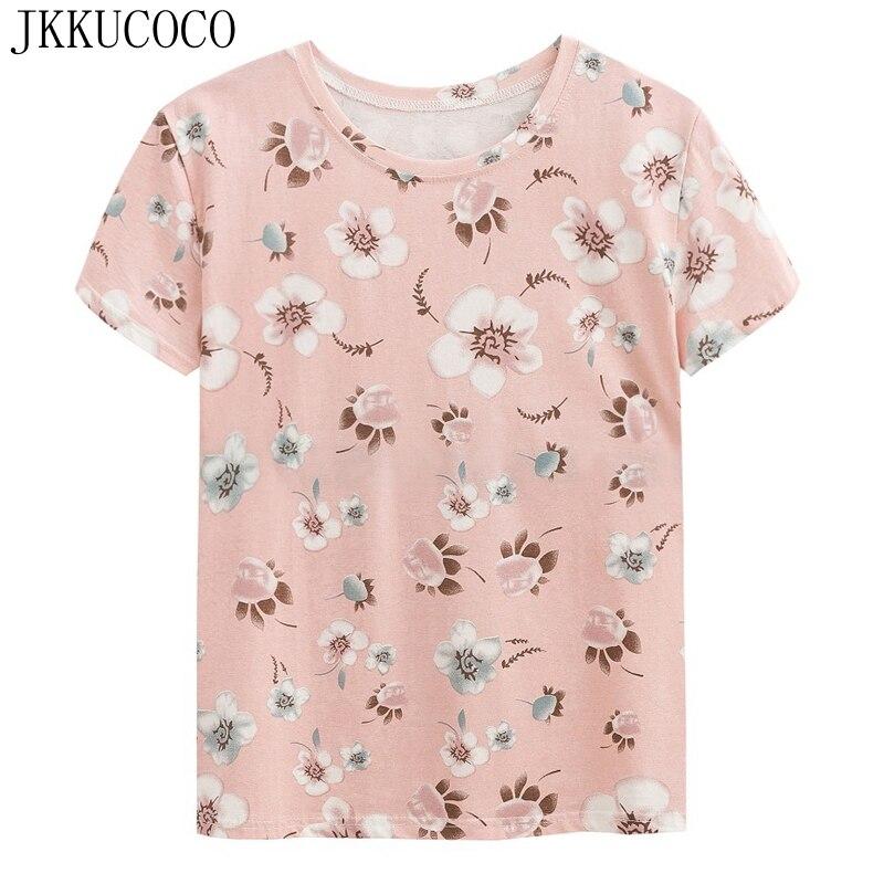 JKKUCOCO פרחים נחמדים נשים חולצת כותנה באיכות גבוהה חולצה חולצה חדשה חולצה מזדמן שרוול קצר חולצות Tees הקיץ חם XS-XL