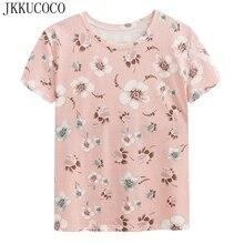 JKKUCOCO Nice Flowers Shirt Women t shirt high quality Cotton T-shirt Short Sleeve Casual shirt New Summer Hot Tops Tees XS-XL