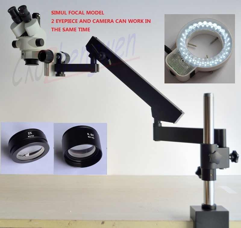 FYSCOPE nouveau MICROSCOPE FOCAL intelligent SIMUL 3.5X-90X bras articulé ZOOM MICROSCOPE stéréo + 56LED
