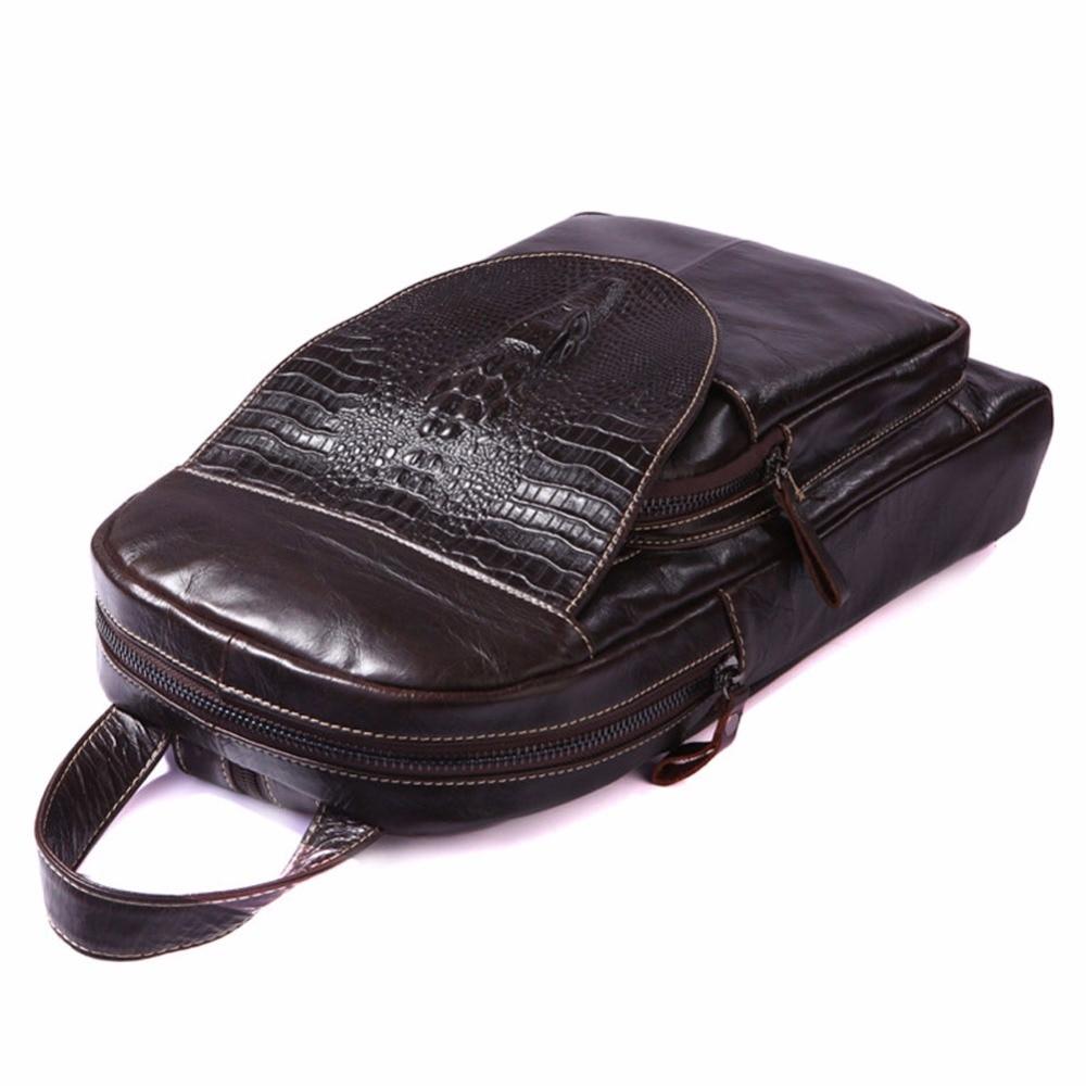 YIANG Men Backpack Genuine Leather Crocodile Pattern Laptop Backpacks College Student School Backpack Multifunctional Backpack