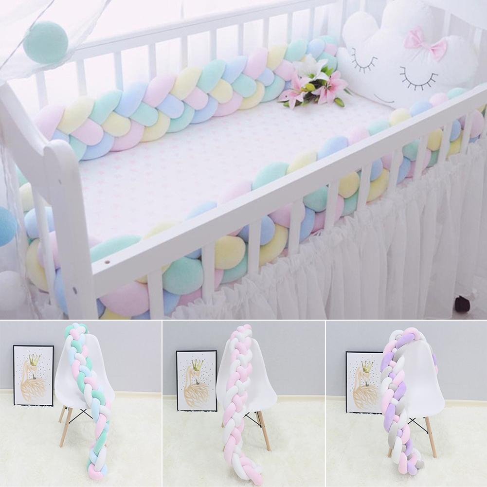 Braided Long Knotted Ball Crib Guardrail Bumper Anti-Collision Protective Baby Bed Protector Rope