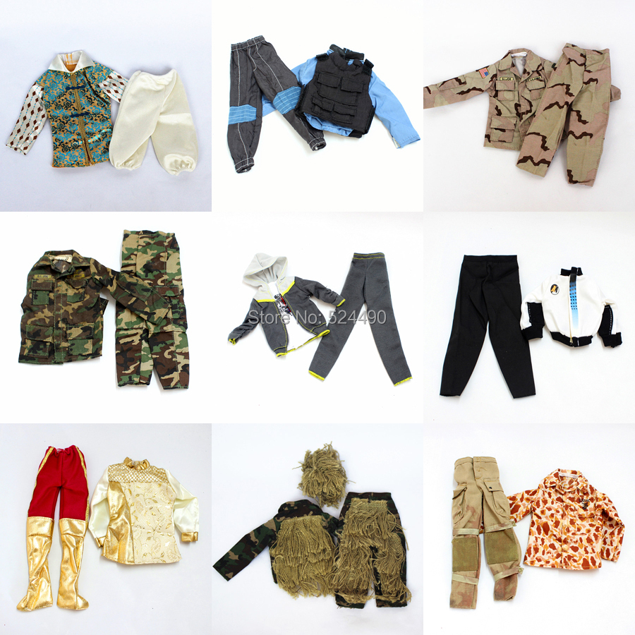 Heaps three units Doll Outfit Plug Go well with Ball Uniform / military fight uniform / Leasure Put on Garments Equipment For Barbie Boy Ken Doll