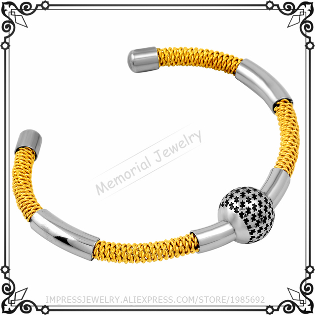 MJB0505 Gold Plated Ball Charms Stainless Steel With Star Printed Charm Bangle Bracelet