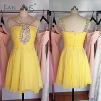 Real Sample Yellow A Line Chiffon Homecoming Dresses 2015 New Beaded Knee Length Special Occasion Party Dress SHD12
