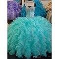 Azul Lantejoulas Cristal Vestidos Quinceanera Querida Lace up 16 Anos Princesa do baile de Finalistas Vestido Feito Sob Medida Vestidos De 15 Años