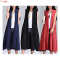 Women Pleated Large Size Vintage Linen Vest Jacket Pockets Long Sleeveless Casual Cardigan Overcoat Vest