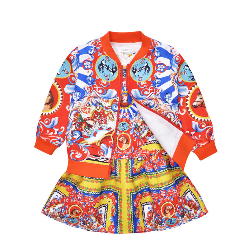 2017 Spring Autumn Girl Coat Dress Set Children Clothing Baby Sets Bunchems Ropa Tracksuit Casual Kids Clothes Suit Jacket 3-10Y 2017 baby girl s sports clothing set spring autumn children s clothes girl casual hoodies long trousers pants