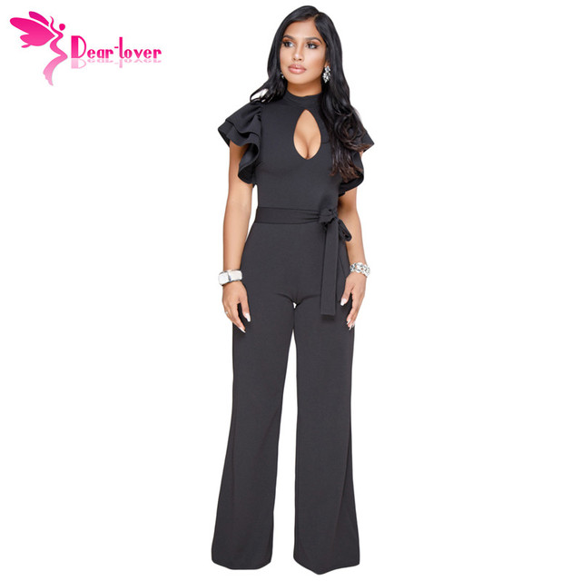 b9498380401 Dear Lover Long Pant Jumpsuit Office Work Wear Black Ruffle Keyhole Bust  Wide Leg Romper with Belt Women Clothes Overalls C64393