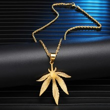 HIP Hop Stainless Steel Bling Gold Color Weed Maple leaf Pendants & Necklaces for Men Jewelry Dropshipping
