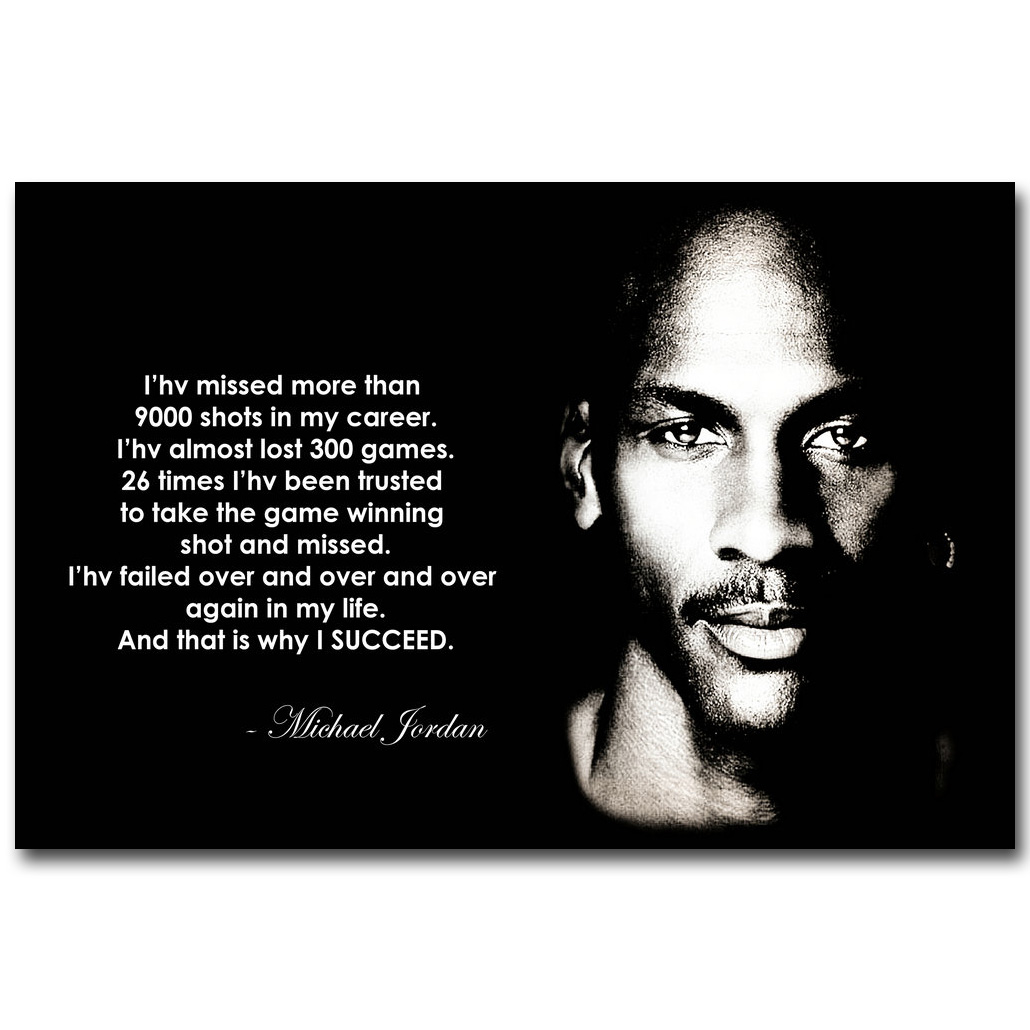 Quotes By Michael Jordan Michael Jordan Motivational Succeed Quote Art Silk Fabric Poster