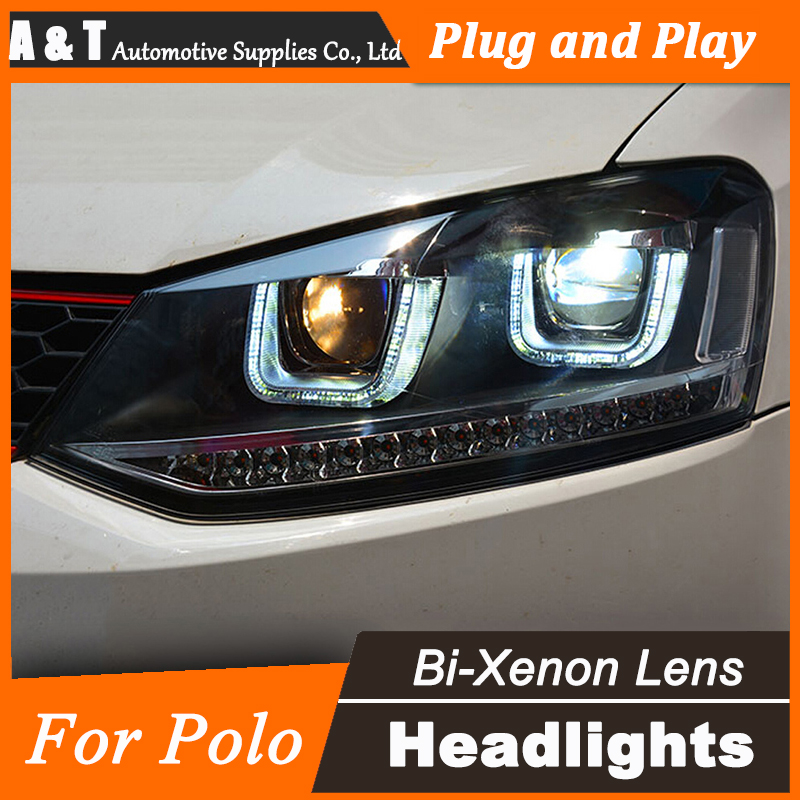 A&T Car Styling for VW Polo Headlights Volks Wagen New Polo LED Headlight Cruiser drl Lens Double Beam H7 HID Xenon